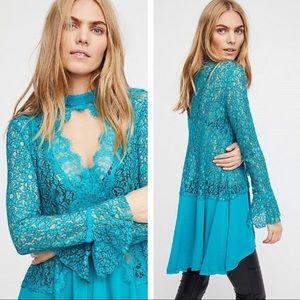 Free People Tell Tale Tunic Dress / Top Ocean Blue